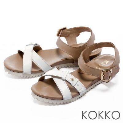 KOKKO舒適耐走牛皮簡約交叉帶超軟底涼鞋
