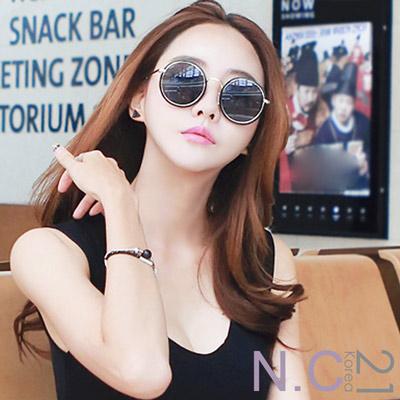 N.C21- 復古圓框金邊墨鏡太陽眼鏡 (共二色)
