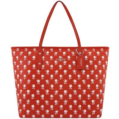 COACH-橘紅色馬車花朵圖樣PVC托特包