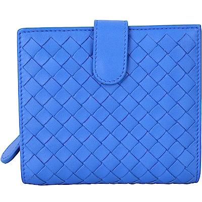 BOTTEGA VENETA 經典小羊皮編織釦式短夾(土耳其藍)