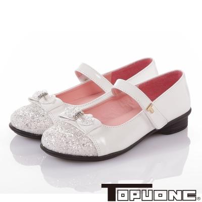 TOPUONE 手工豚皮氣質減壓防滑娃娃公主童鞋-白色