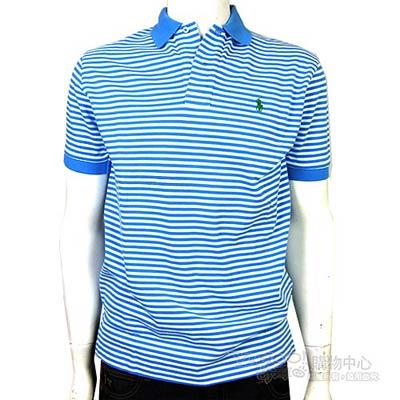 Ralph Lauren 雙色細條紋POLO男衫(白淺藍)