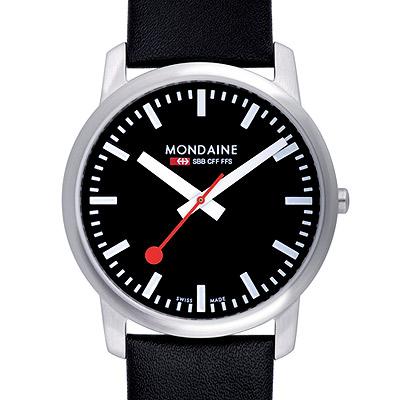 Mondaine 瑞士國鐵藍寶石水晶薄型腕錶-黑/41mm