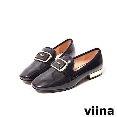 viina-都會系列-時尚方扣軟漆皮樂福鞋-質感藍