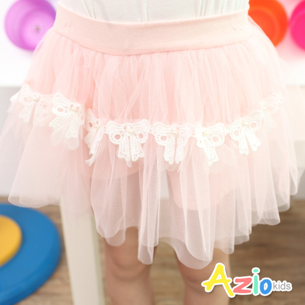 Azio Kids-珍珠蕾絲蝴蝶結網紗蓬蓬褲裙(粉)