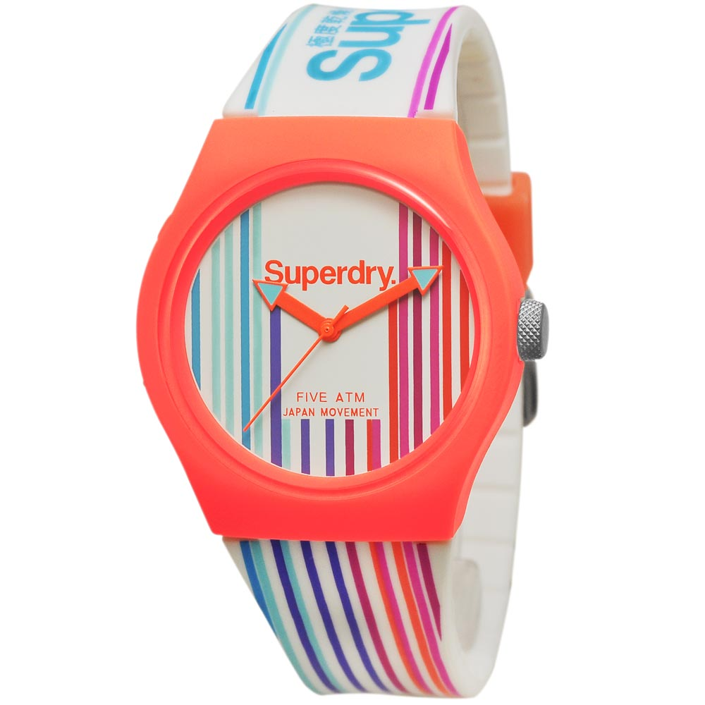 Superdry 極度乾燥 多彩 矽膠 運動腕錶-彩色/37mm
