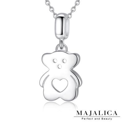 Majalica熊愛你項鍊925純銀墜銀色女鍊