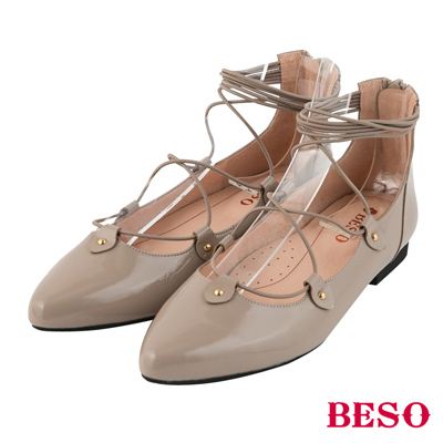 BESO芭蕾精靈 繫帶繞踝拉鍊全真皮平底鞋~卡其