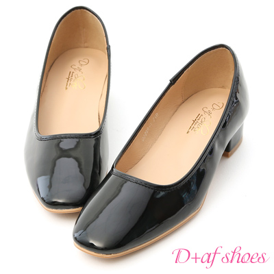 D+AF 優雅質感.素面方頭漆皮低跟鞋*黑