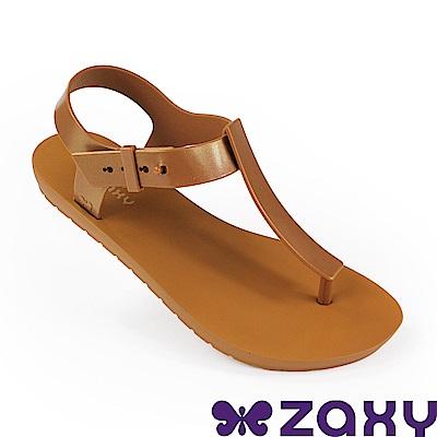 Zaxy 巴西 女 繽紛原色T字涼鞋-土黃色