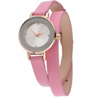 MANGO 俏麗佳人小錶面晶鑽雙圈錶帶腕錶-粉/24mm