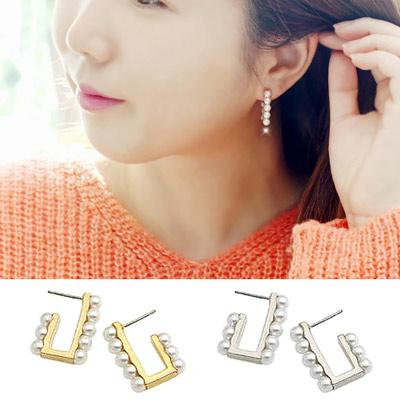 Aimee Toff 韓國來自星星的你千頌伊珍珠排鑽耳環(2色)
