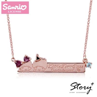STORY故事銀飾-雙星仙子天然寶石純銀項鍊(玫瑰金款)