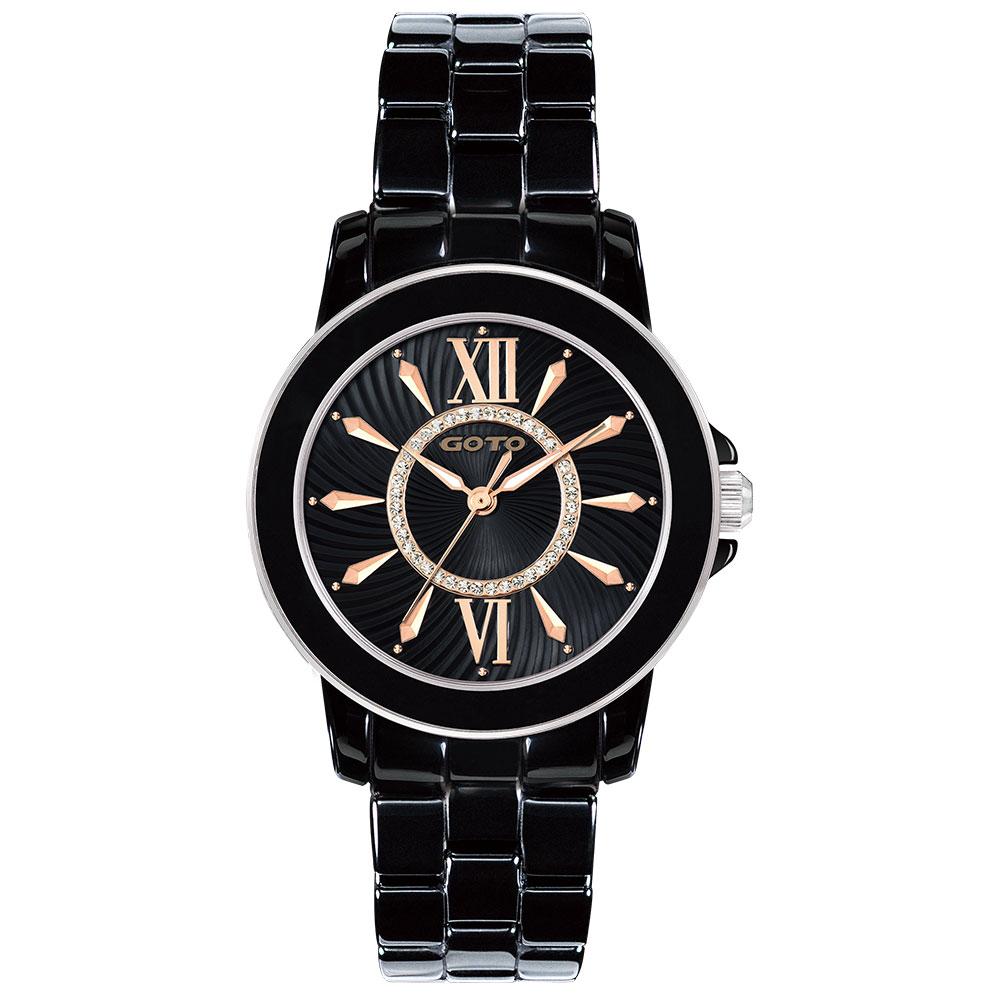 GOTO 羅馬彩妝系列時尚腕錶-黑x玫/36mm