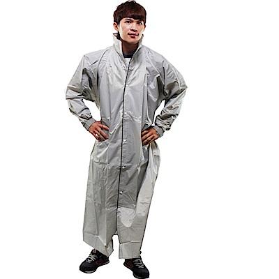 JUMP新二代前開素色雨衣-銀色-