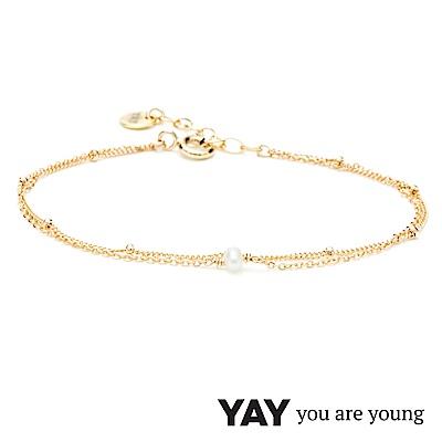 YAY You Are Young 法國品牌 Stella 珍珠手鍊 金色