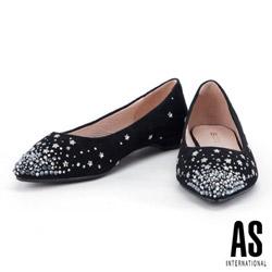 低跟鞋 AS 璀璨星空羊麂皮尖頭低跟鞋-黑