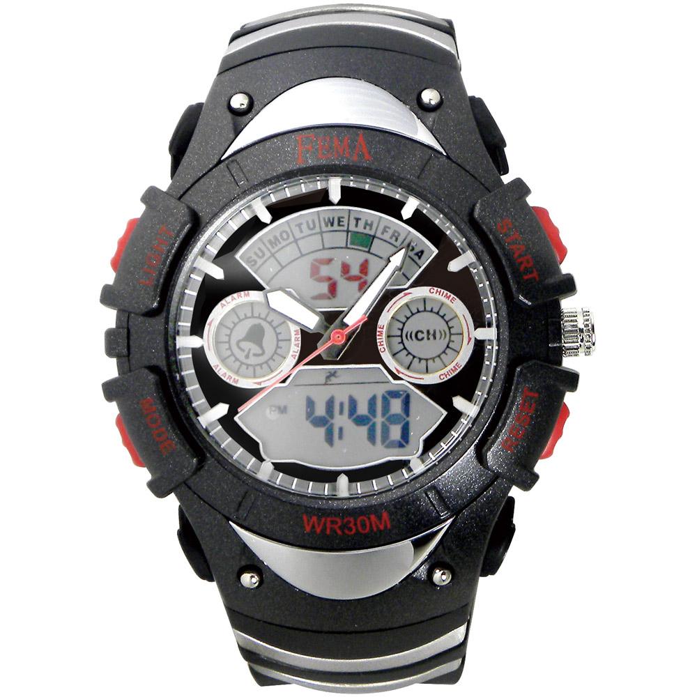 FEMA 炫彩流行 計時鬧鈴 雙顯運動錶(P308A)-黑/42mm