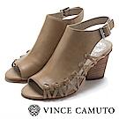 Vince Camuto 側邊編織魚口粗高跟涼鞋-灰色