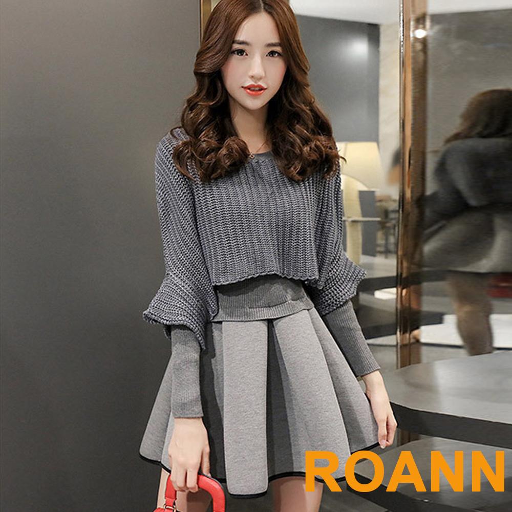 圓領五分袖針織罩衫+純素長袖針織洋裝兩件套 (灰色)-ROANN