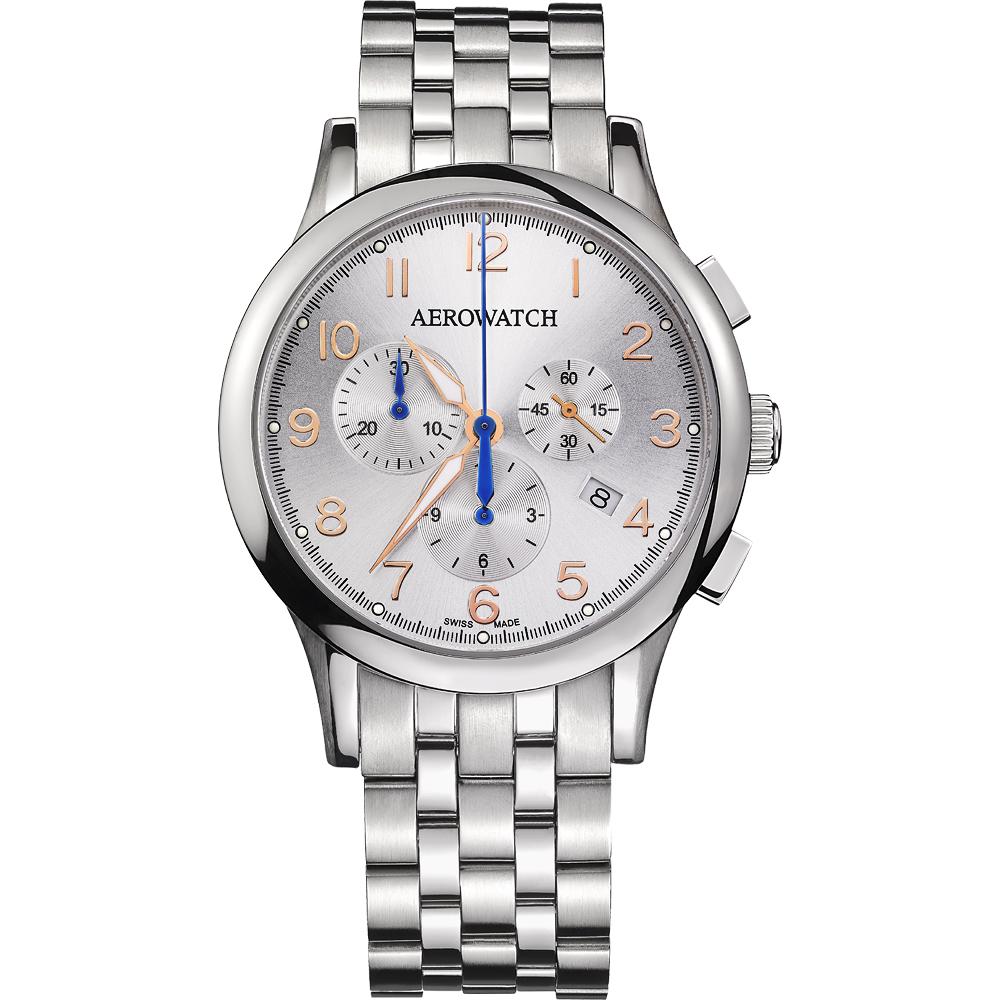 AEROWATCH Grace優雅風範三眼計時腕錶-銀/42mm