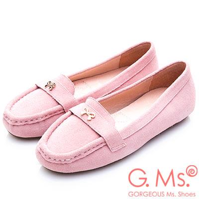 G.Ms. 牛麂皮小金蝴蝶結莫卡辛鞋-粉紅