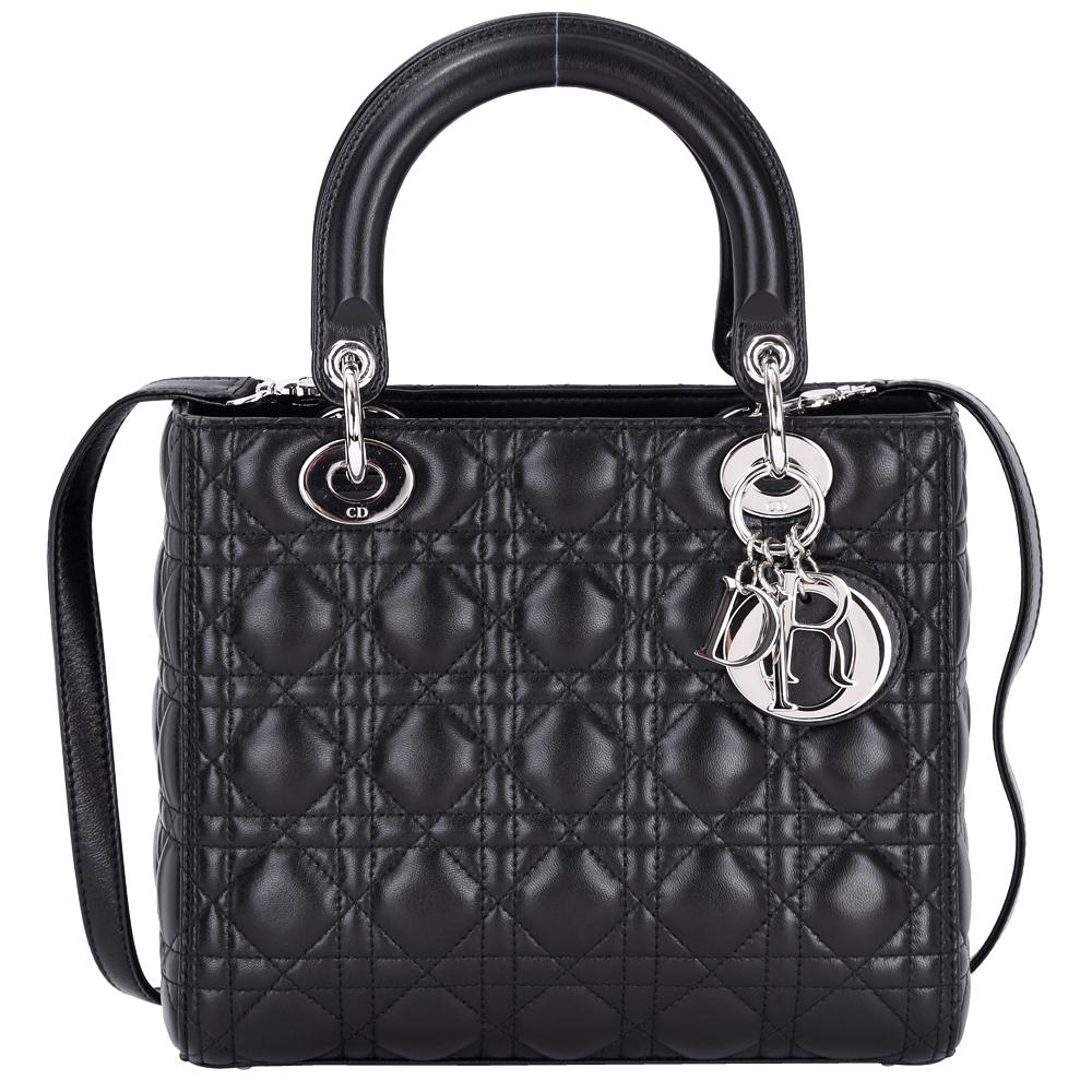 DIOR Lady Dior 小羊皮兩用手提黛妃包(黑色)
