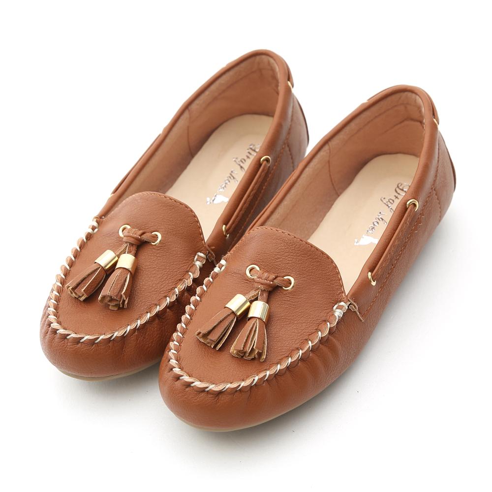 D+AF 舒活自在‧MIT小流蘇豆豆底莫卡辛鞋*棕