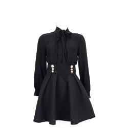 ELISABETTA FRANCHI 黑色紗質拼接百褶連身短裙
