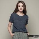 H:CONNECT 韓國品牌 女裝 - 純色混紡短袖上衣 - 藍(快)