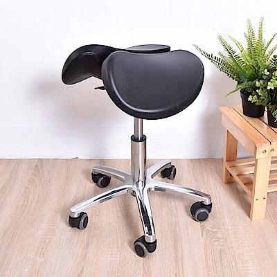 凱堡 馬鞍座工作椅 鋁合金腳PU輪款 電鍍12公分氣壓升降 美容椅/釋壓椅/氣壓椅