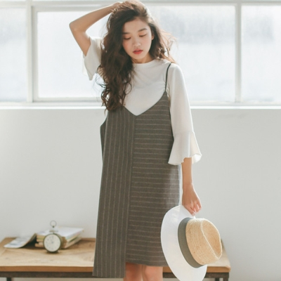 韓系-大V領條紋吊帶裙-共二色-91-KOKO