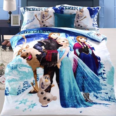 HOYACASA冰雪奇緣 雙人四件式法萊絨鋪棉床包 被套組