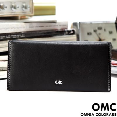 OMC - 韓國柔軟羊皮款真皮12卡1照上下翻長夾