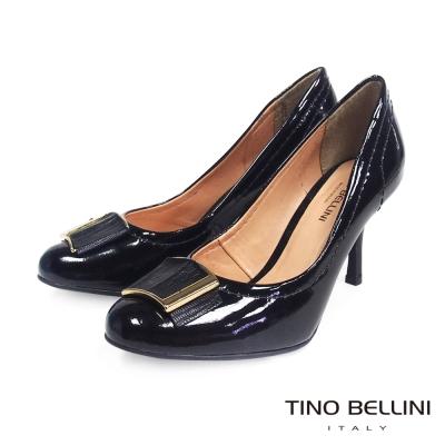 Tino-Bellini-巴西素雅金屬方釦跟鞋-黑