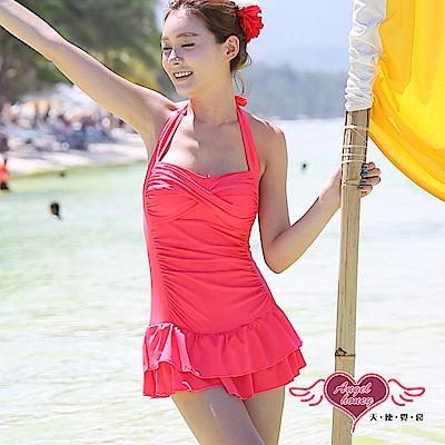 泳衣 稚嫩原色 一件式連身泳裝(玫紅L) AngelHoney天使霓裳
