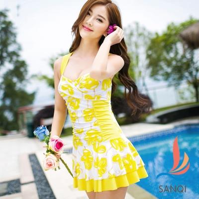 SANQI三奇 花漾俏皮 一件式連身泳衣(黃M~XL)