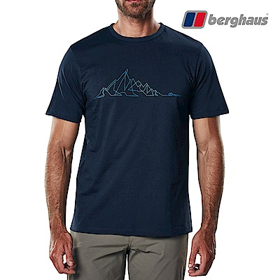 【Berghaus貝豪斯】男款山陵線印花圓領T恤S04M15-深藍