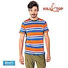 【hilltop山頂鳥】男款吸濕排汗抗UV彈性T恤S04MC0-帝國藍