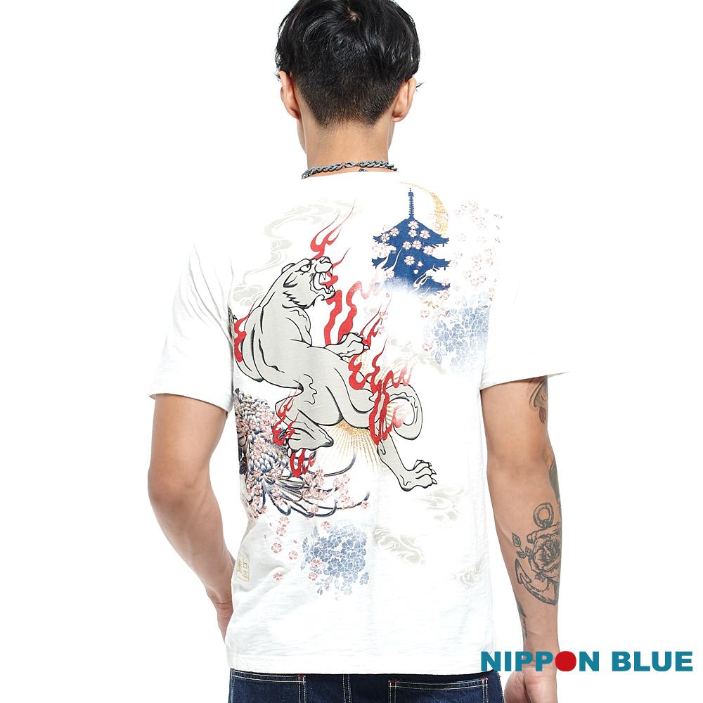日本藍 BLUE WAY 金標精繡虎嘯雲天短袖TEE-白