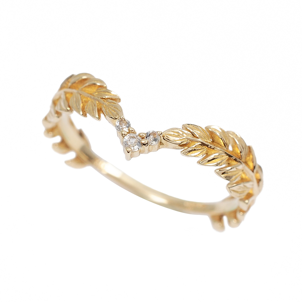 agete日本精品珠寶 月桂葉冠鑲拉長石K10金色戒指