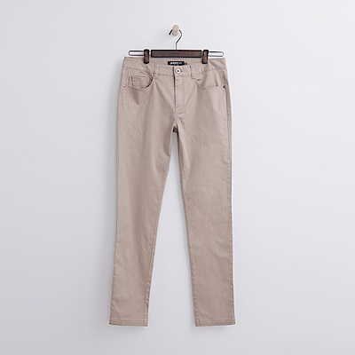 Hang Ten - 男裝 - 純色斜紋修身長褲-卡其色