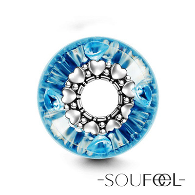 SOUFEEL索菲爾 925純銀珠飾 藍色愛琴海 琉璃珠