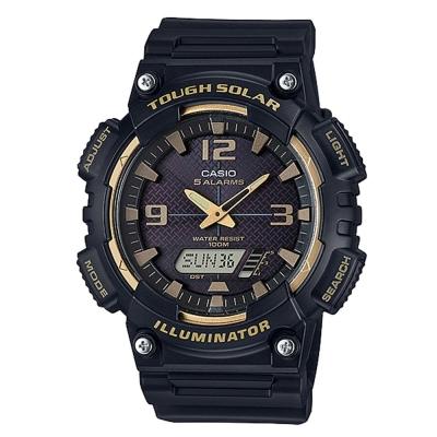 CASIO 新一代光動遊俠雙顯運動錶(AQ-S810W-1A3)-黑x金框/52mm
