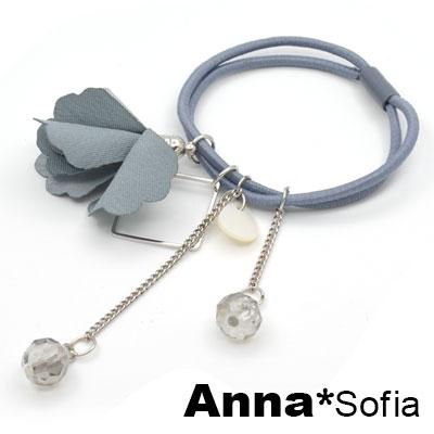 【3件480】AnnaSofia 滴貝垂雙透珠瓣花 純手工彈性髮束髮圈髮繩(藍系)