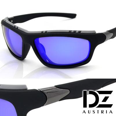 DZ 精悍動力 抗UV 偏光太陽眼鏡墨鏡(黑框藍膜)