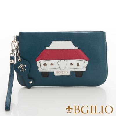 義大利BGilio-摩登牛皮童趣造型萬用包(汽車)-藍綠色2282.002-08