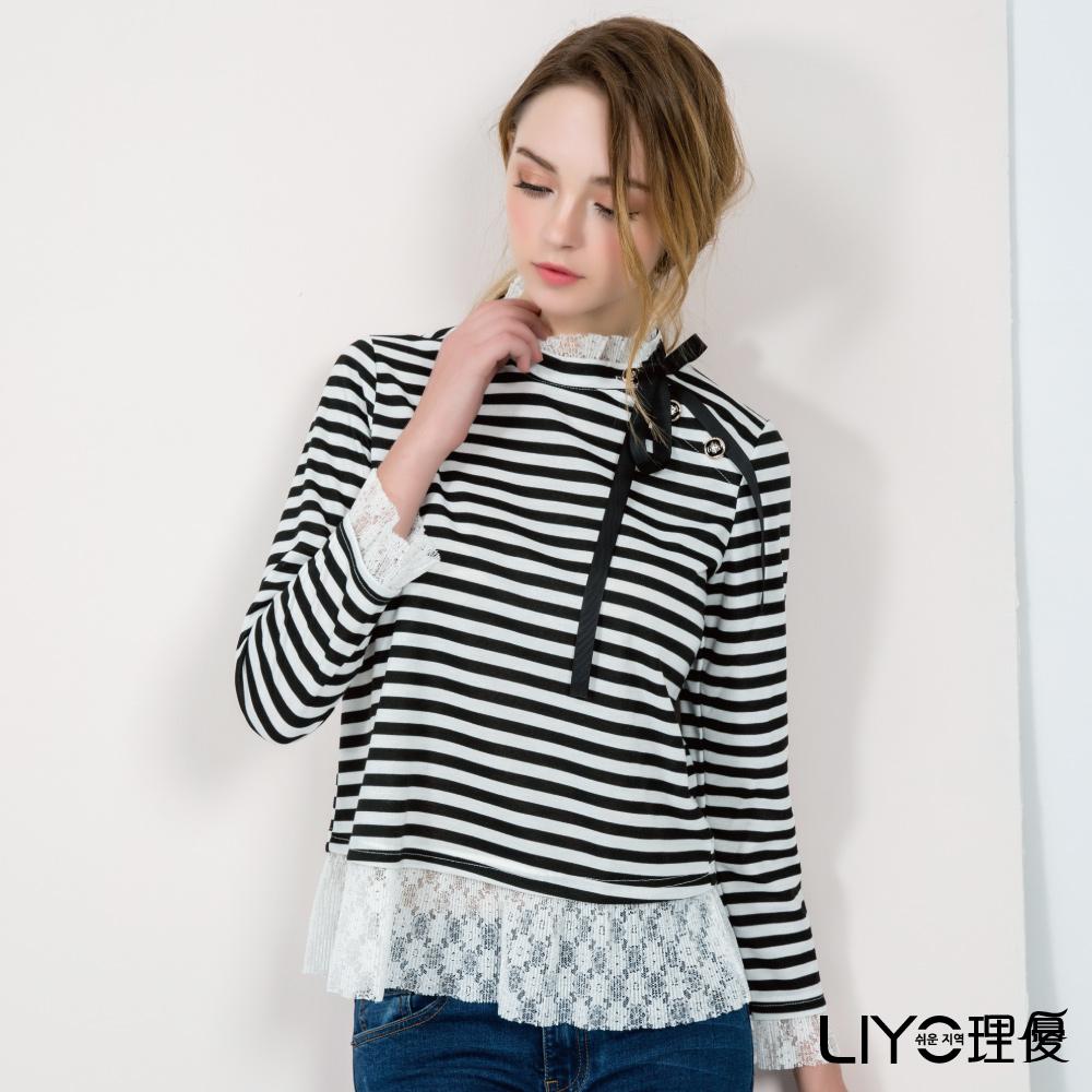 LIYO理優條紋蕾絲立領上衣(黑)