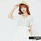 H:CONNECT 韓國品牌 女裝 - 蕾絲繡花綁帶洋裝-白