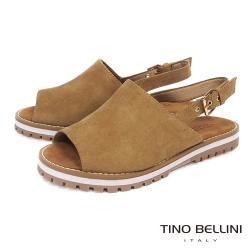 Tino Bellini 摩登復古寬帶魚口平底涼鞋 _棕